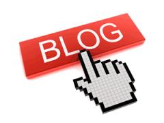 Finger zeigt auf Blog