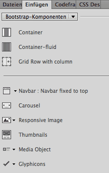 Dreamweaver - Einfuegen Bootstrap Komponenten