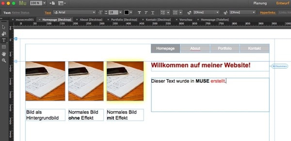 Adobe Muse - Beispielseite
