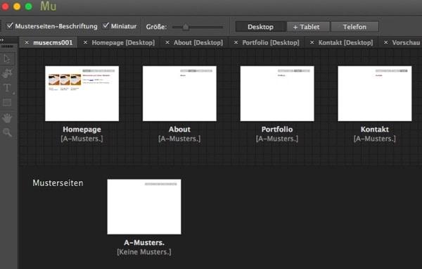 Adobe Muse - Seitenstruktur