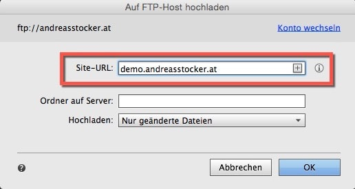 Adobe Muse - FTP Upload starten