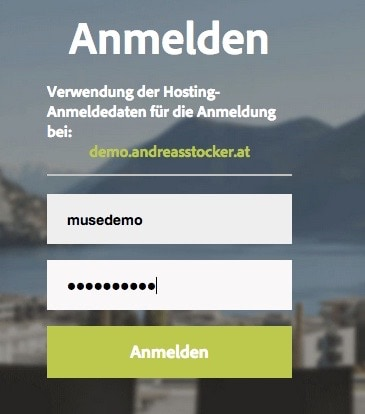 Adobe Muse - inbrowserediting Anmeldung