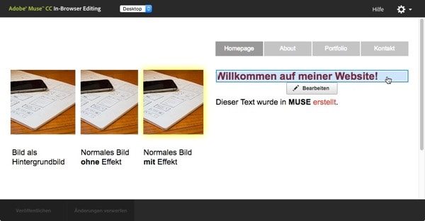 Adobe Muse - inbrowserediting Webseite