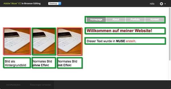 Adobe Muse - inbrowserediting - bearbeitbare Inhalte