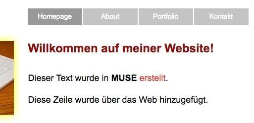 Adobe Muse - inbrowserediting - fertig bearbeitete Inhalte