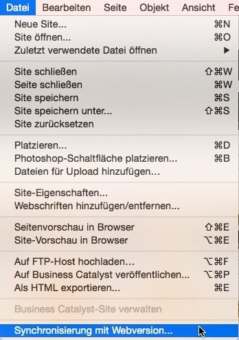 Adobe Muse - Manuelles synchronisieren