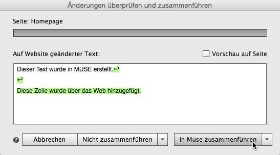Adobe Muse - Zusammenführung Dialog
