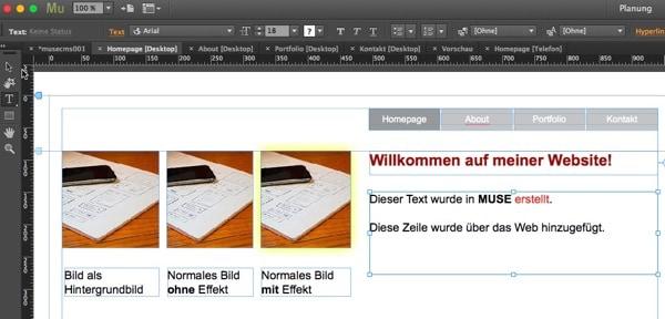 Adobe Muse - Zusammenführung abgeschlossen