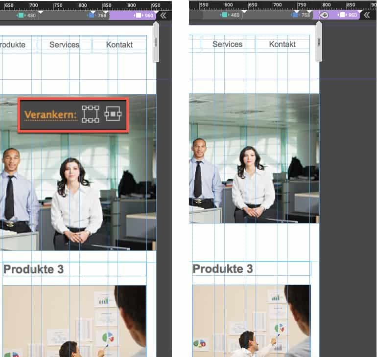 Adobe Muse Responsive - verankern Mitte