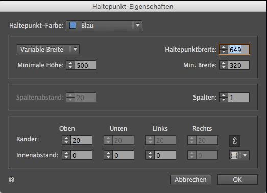 Adobe Muse Responsive - Haltepunkt Eigenschaften