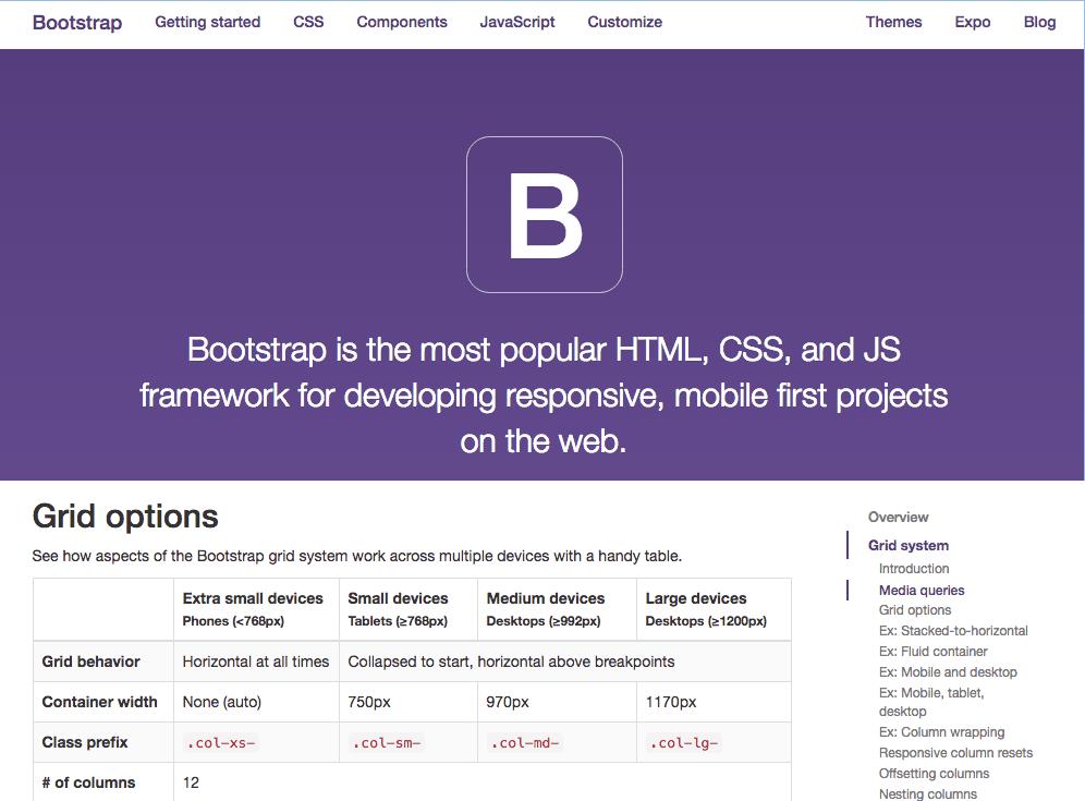 Bootstrap Website mit Breakpoint Übersicht