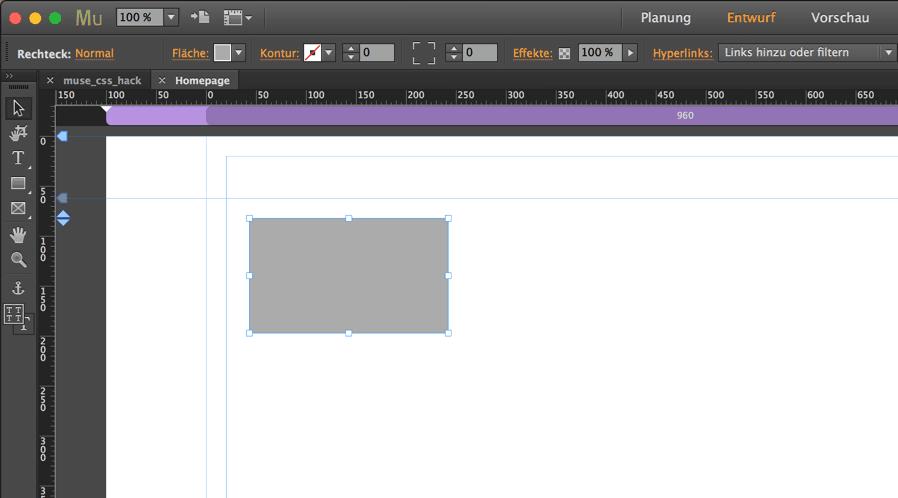Adobe Muse Beispiel Seite