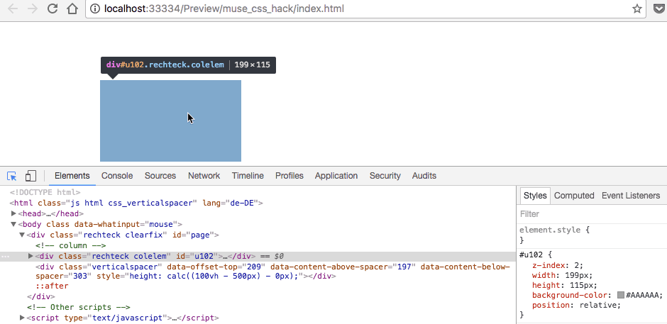 CSS Klasse im Chrome Browser überprüfen