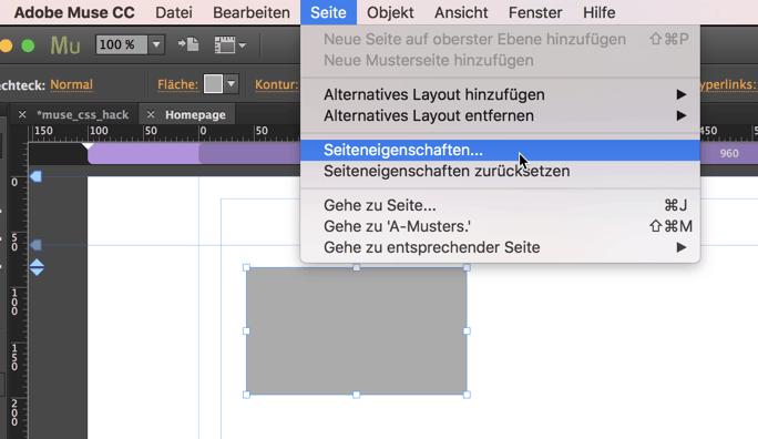 Seiteneigenschaften von Adobe Muse
