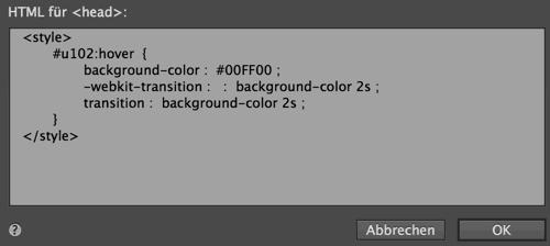 Adobe Muse CSS Regeln eingefügt
