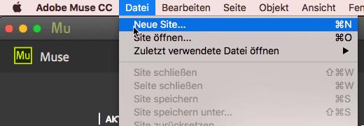 Muse Datei Menue