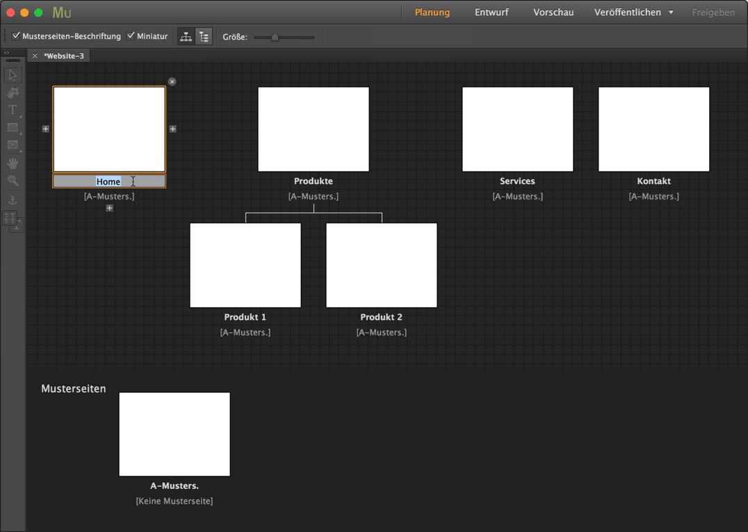 Muse - Planungsmodus mit Seitenstruktur