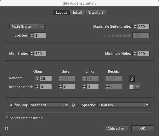 """Muse Site-Eigenschaften ändern - """"Layout"""" Tab"""
