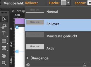 Muse - Menübefehl Rollover