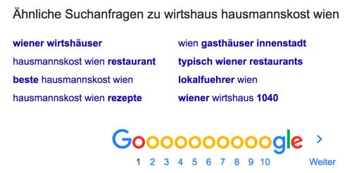 Google - Ähnliche Suchanfragen