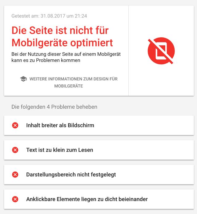 Seite für Mobilgeräte nicht optimiert