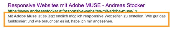 SEO Meta Beschreibung in Google