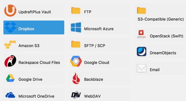 Backups auf Clouddienste spielen mit UpdraftPlus