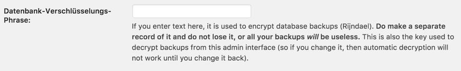 Datenbank Backups bei UpdraftPlus verschlüsseln