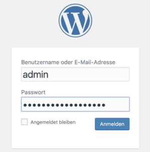 WordPress Login mit Username admin