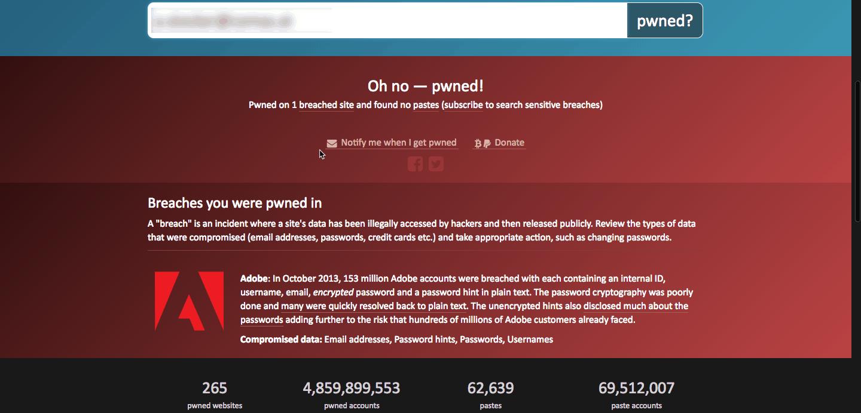 Passwortdatenbank Abfrage - Daten gefunden bei Adobe.