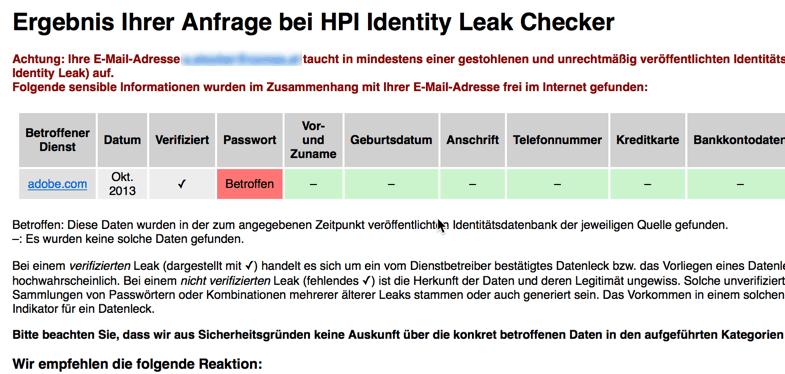 Passwortdatenbank Abfrage - E-Mail gefunden
