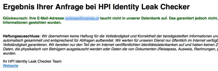 Passwortdatenbank Abfrage - E-Mail nicht gefunden