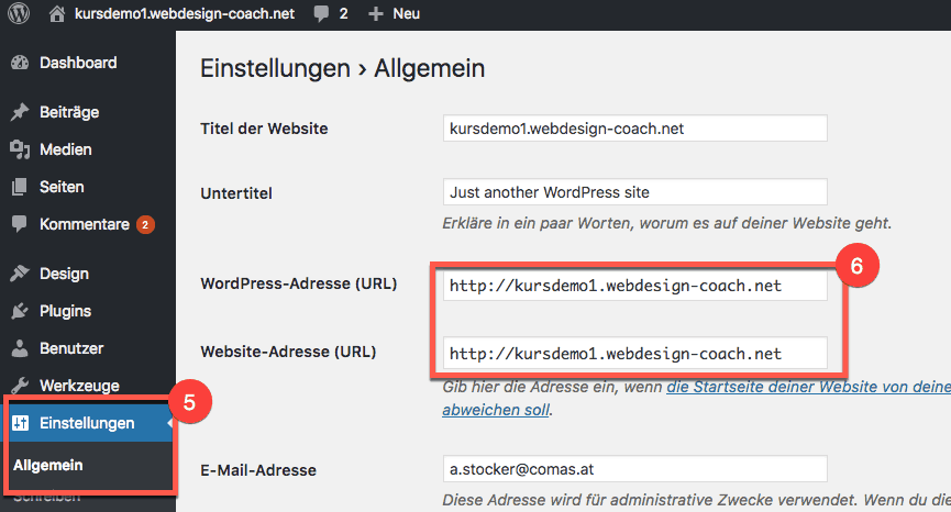 WordPress HTTPS Umstellung - WordPress URLs ändern