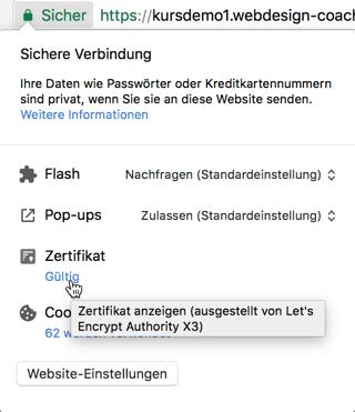 Detail der HTTPS Verbindung anzeigen