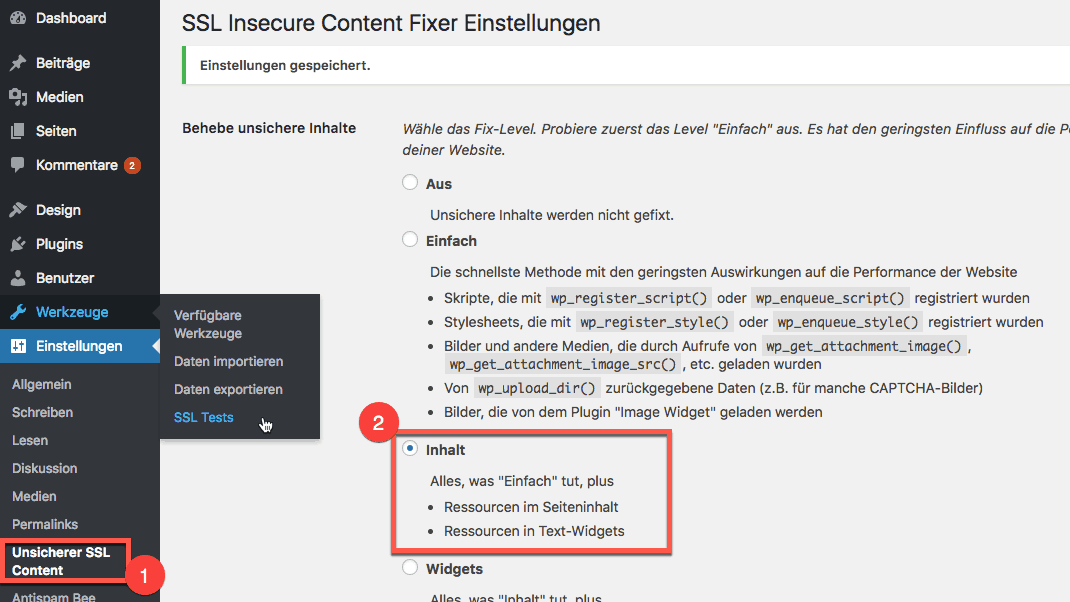 WordPress HTTPS Umstellung - Mixed Content Problem Plugin - Einstellungen