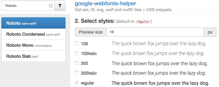 Google Webfont Helper - Step 2 - Styles wählen