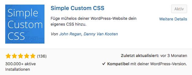 WordPress Plugin für eigene CSS Regeln - Simple Custom CSS