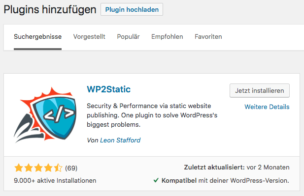 Static WordPress Plugin wp2static