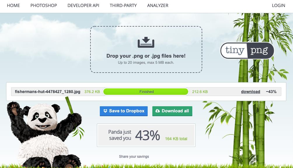 Website Tipp: Bilder mit TinyPNG optimieren - Optimierung und Download