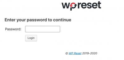 WP Reset - EMR Seite - Passwort Eingabe